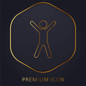Arms Up arany vonal prémium logó vagy ikon