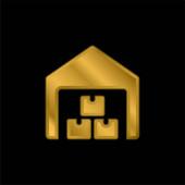 Dobozok aranyozott fém ikon vagy logó vektor