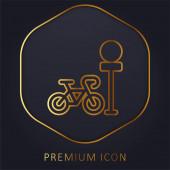 Bike Parking zlatá čára prémie logo nebo ikona