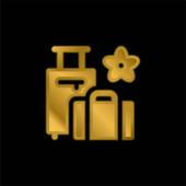 Pozlacená kovová ikona nebo vektor loga zavazadel