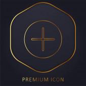 Logo nebo ikona prémiové zlaté čáry tlačítka