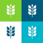 Větev s listy Ploché čtyři barvy minimální ikona nastavena