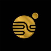 Csillagászati aranyozott fémbevonatú ikon vagy logó vektor