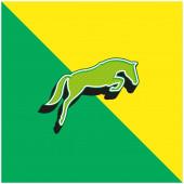 Black Jumping Horse With Face Looking To The Ground Zelená a žlutá moderní 3D vektorové logo