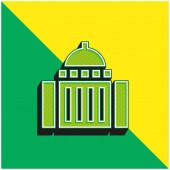 Art Museum Zelené a žluté moderní 3D vektorové logo