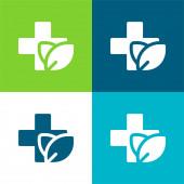 Alternative Medizin Flache Vier-Farben-Minimalsymbole