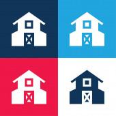 Barn kék és piros négy szín minimális ikon készlet