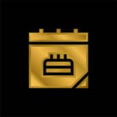 Születésnap dátum aranyozott fém ikon vagy logó vektor