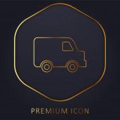 Black Delivery Small Truck Side View zlatá linka prémie logo nebo ikona
