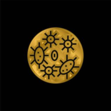 Bakteri altın kaplama metalik simge veya logo vektörü