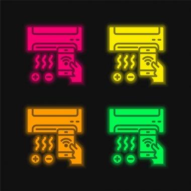 Air Conditioner four color glowing neon vector icon stock vector