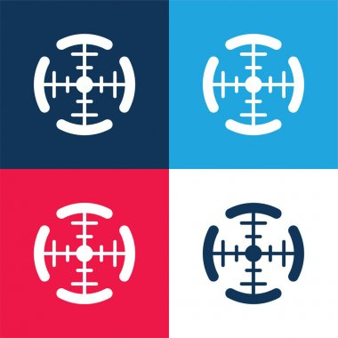 Aim blue and red four color minimal icon set stock vector