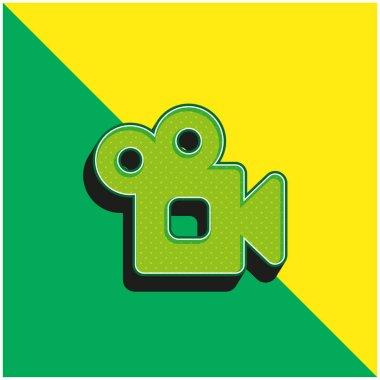 Analogic Video Camera Green and yellow modern 3d vector icon logo stock vector
