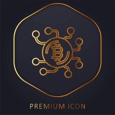 Bitcoin golden line premium logo or icon stock vector