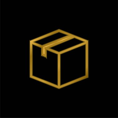 Box Closed gold plated metalic icon or logo vector stock vector