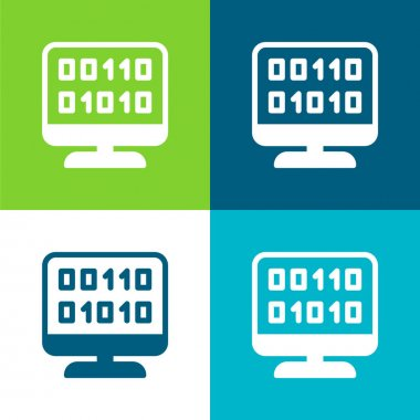 Binary Code Flat four color minimal icon set stock vector