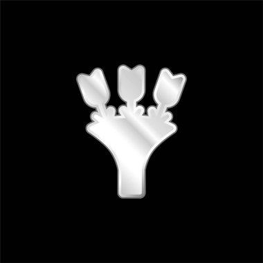 Bouquet silver plated metallic icon stock vector