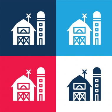 Barn blue and red four color minimal icon set stock vector