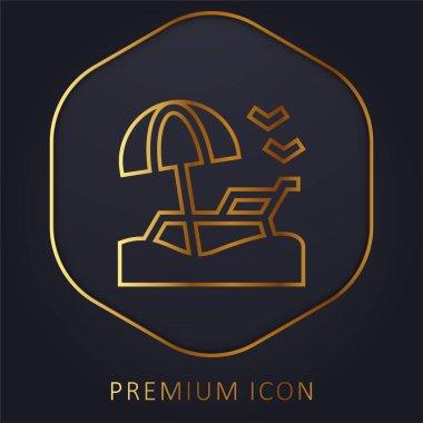 Beach golden line premium logo or icon stock vector
