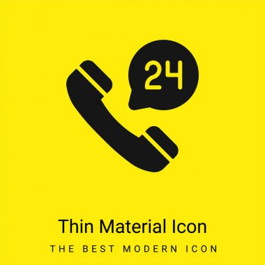 24 Hours minimal bright yellow material icon stock vector