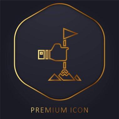 Achievement golden line premium logo or icon stock vector