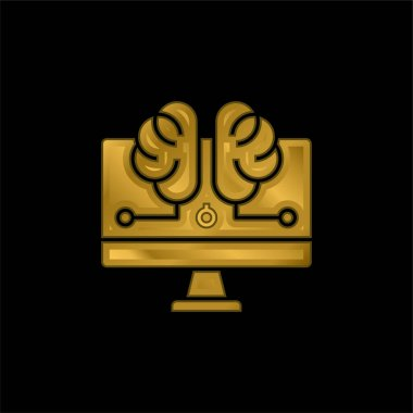 Artificial Intelligence gold plated metalic icon or logo vector stock vector