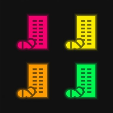 Blister four color glowing neon vector icon stock vector