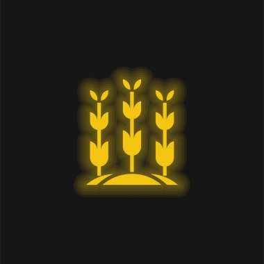 Agriculture yellow glowing neon icon stock vector