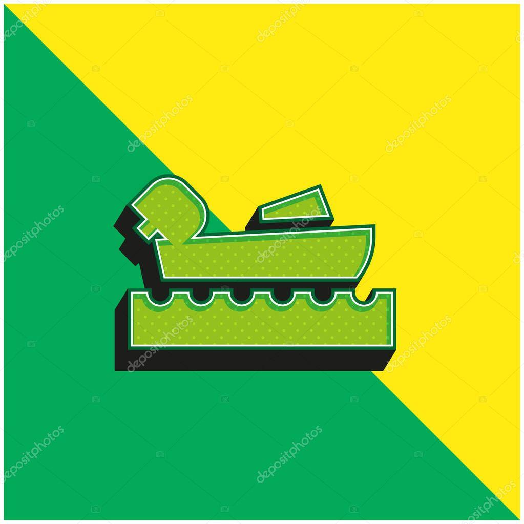 Canottaggio Logo icona vettoriale 3d moderna verde e gialla