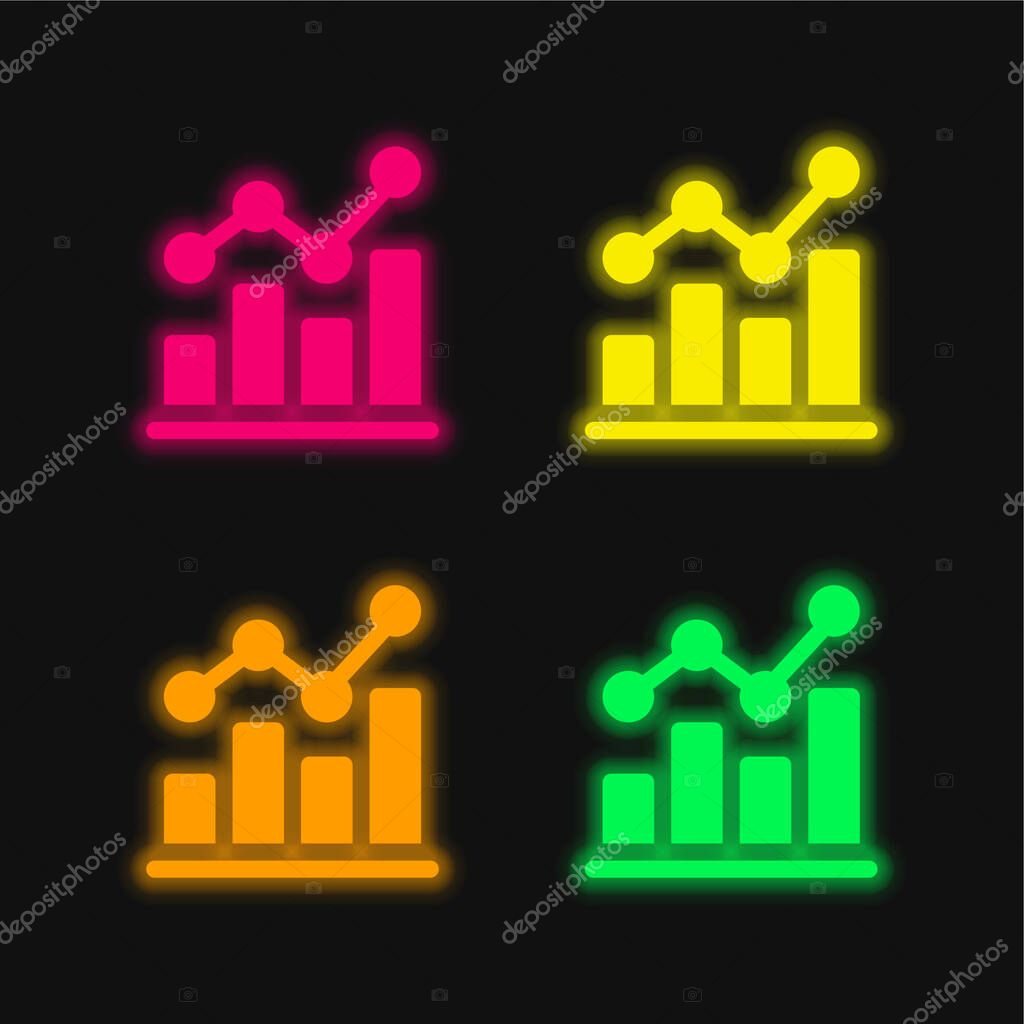 Bar Chart four color glowing neon vector icon stock vector
