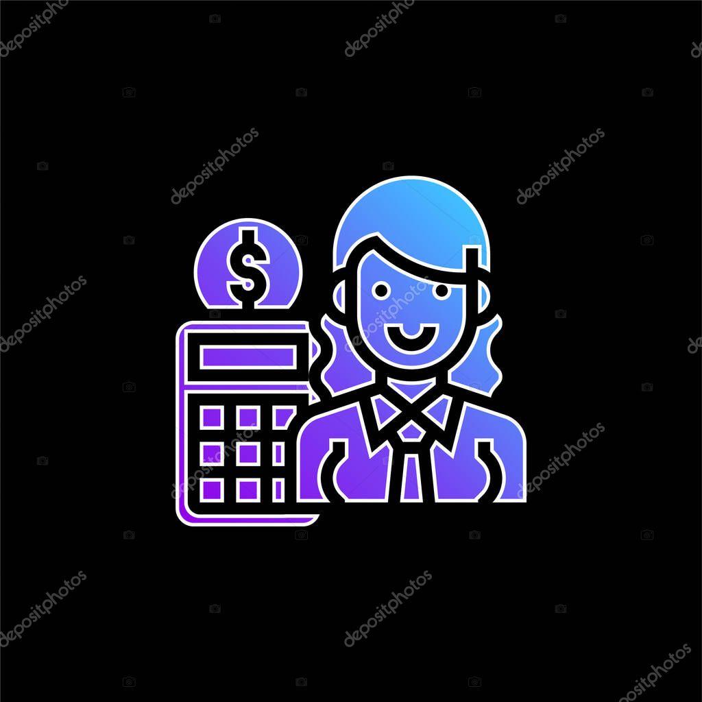 Accountant blue gradient vector icon stock vector
