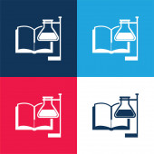 Book And Reagenzgläser mit Supporter blau und rot vier Farben Minimalsymbolsatz