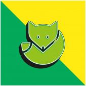 Arctic Fox Green and yellow modern 3d vector icon logo