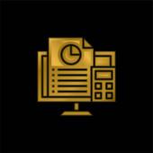 Účetnictví pozlacené kovové ikony nebo vektor loga