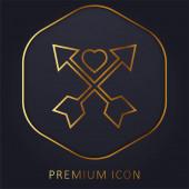Nyíl arany vonal prémium logó vagy ikon