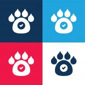 Zvířata povolena modrá a červená čtyři barvy minimální ikona nastavena