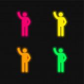 Arm Up négy szín izzó neon vektor ikon