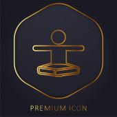 Boy In Lotus Pozice Protahování Arms Gold Line prémie logo nebo ikona