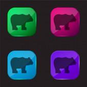 Bear four color glass button icon
