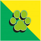 Animal Track Zelená a žlutá moderní 3D vektorové logo