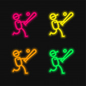 Baseballspieler vier Farben leuchtenden Neon-Vektor-Symbol