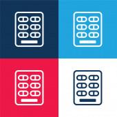 Blister Pack blau und rot vier Farben minimales Symbol-Set