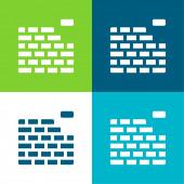 Zedník Byt čtyři barvy minimální ikona nastavena