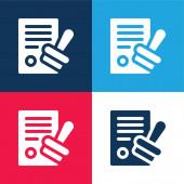 Schválit modrou a červenou čtyřbarevnou minimální ikonu
