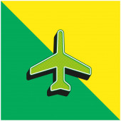 Airplane Pointing Up Green and yellow modern 3d vector icon logo