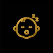 Baby vergoldet metallisches Symbol oder Logo-Vektor
