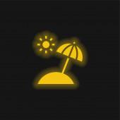 Ikona zářícího neonu na pláži