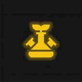 Biotechnology yellow glowing neon icon