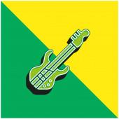 Bass Guitar Zöld és sárga modern 3D vektor ikon logó