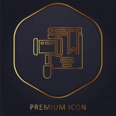 Auction golden line premium logo or icon
